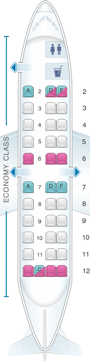 Seat map for United Airlines Saab 340 (SF3)