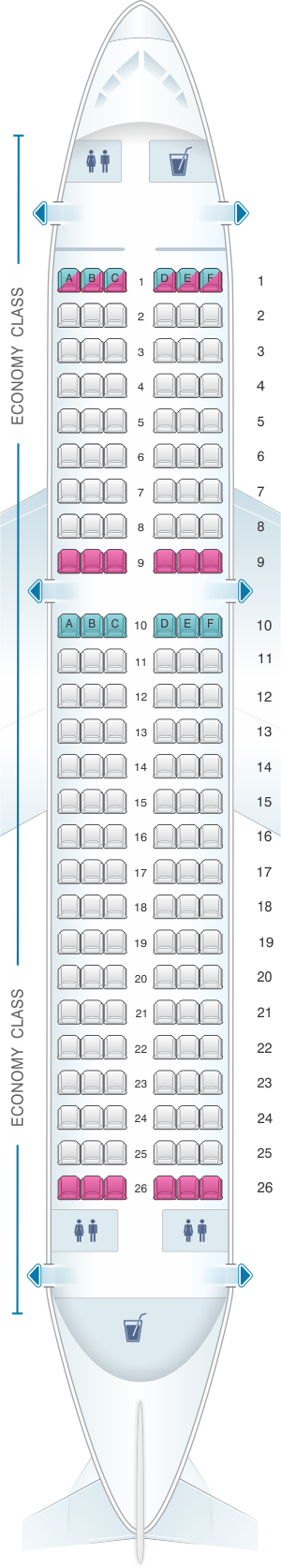 Seat map for Easyjet Airbus A319
