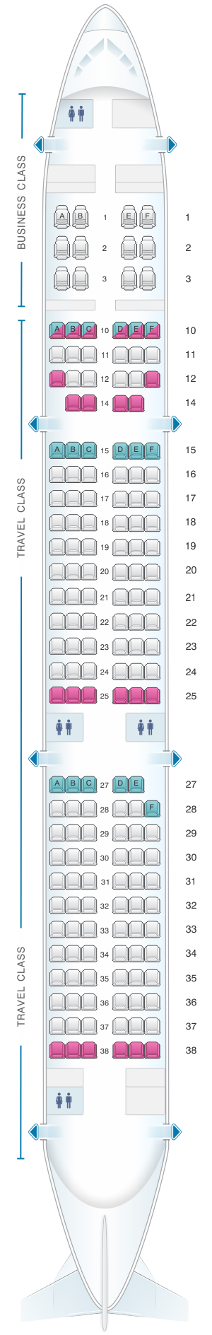 Seat map for Asiana Airlines Airbus A321 200 171PAX