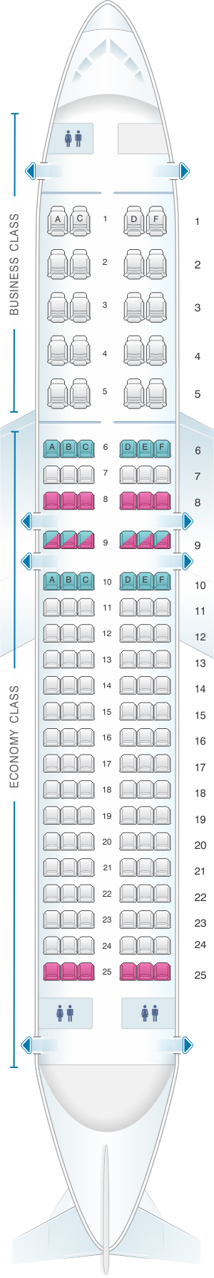 Seat map for Aeroflot Russian Airlines Airbus A320 200 Config.1