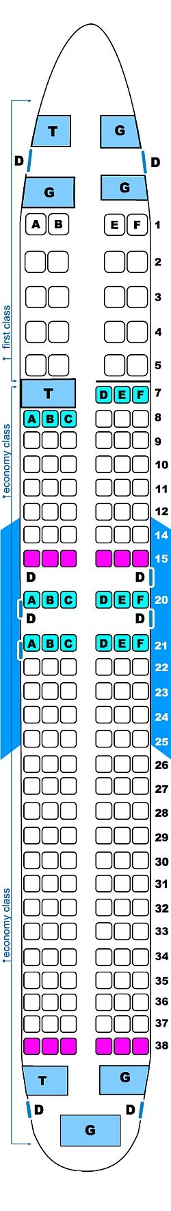 Seat map for Continental Airlines Boeing B737 900 ER