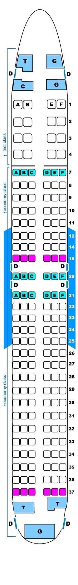 Seat map for Continental Airlines Boeing B737 800 (16/144)