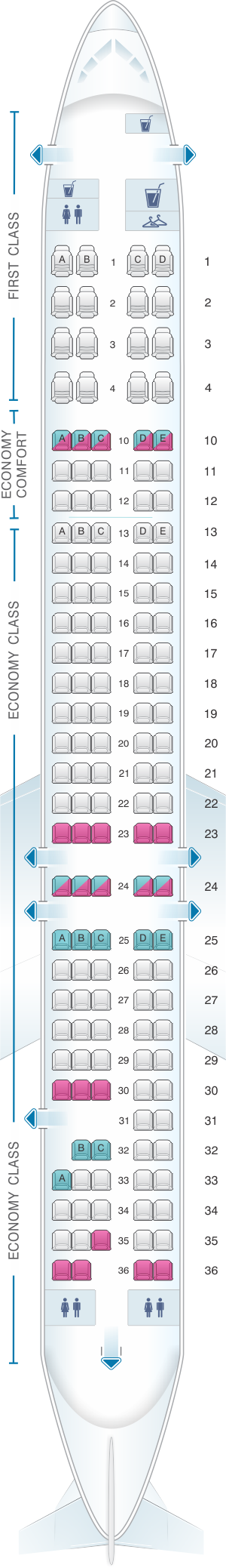 Seat map for Delta Airlines McDonnell Douglas MD 88
