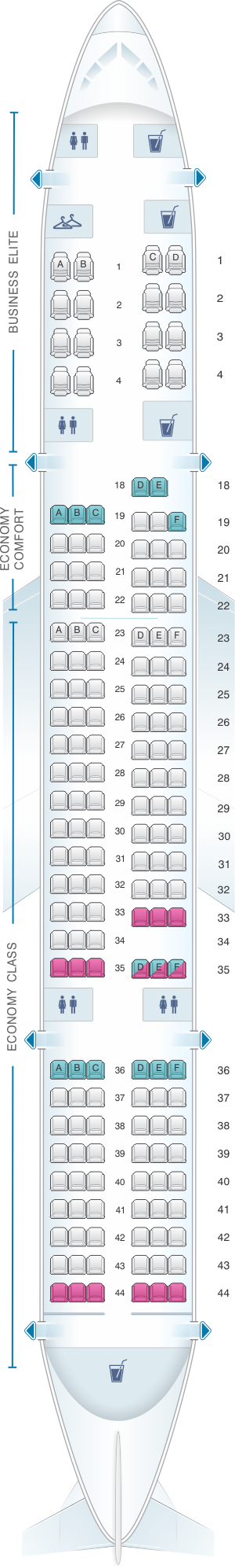 Seat map for Delta Airlines Boeing B757 200 (75E)