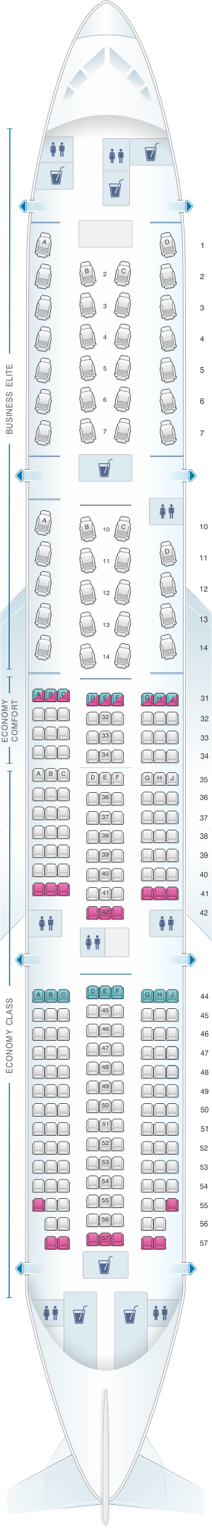Seat map for Delta Airlines Boeing B777 200LR