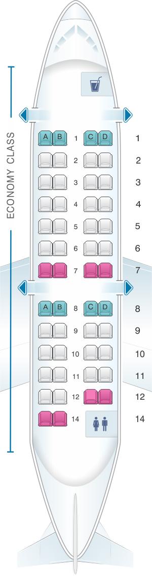 Seat Map Delta Air Lines Bombardier Crj 200 Expresjet
