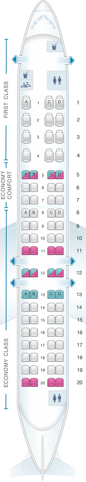 Seat map for Bombardier CRJ 900