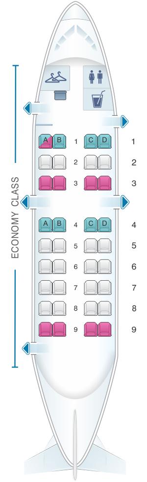 Seat map for Qantas Airways Bombardier Dash 8 Q200