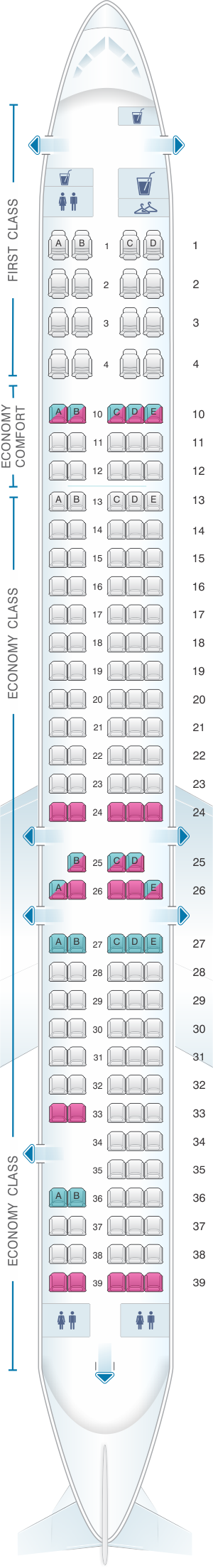 Seat map for Delta Airlines McDonnell Douglas MD 90