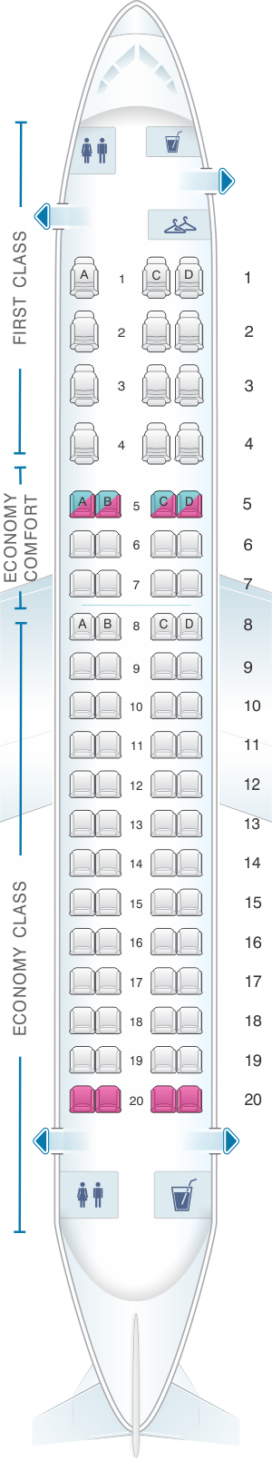 Seat map for Delta Airlines Embraer 175