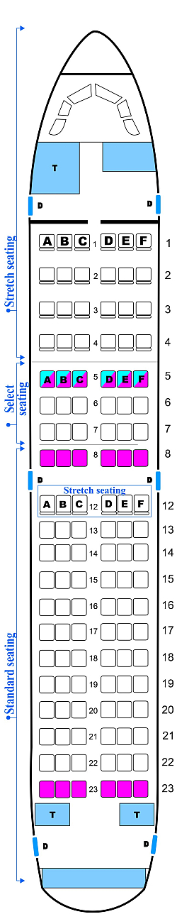 Seat map for Midwest Airlines Airbus A318