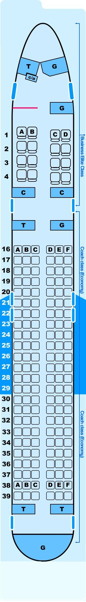 Seat map for Northwest Airlines Boeing B757 200 (5600) Atlantic