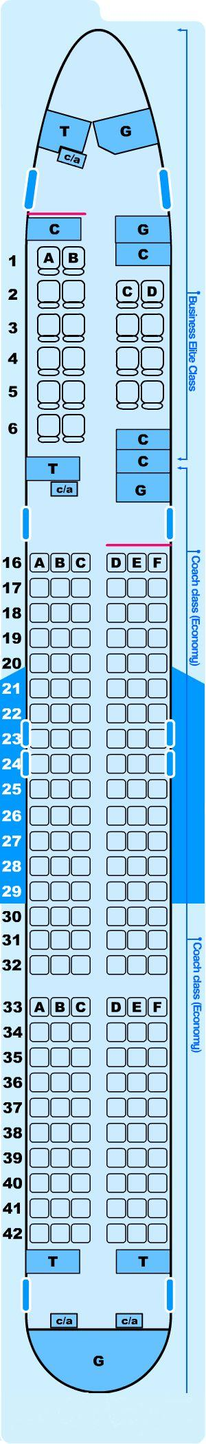 Seat map for Northwest Airlines Boeing B757 200 (5600) Pacific