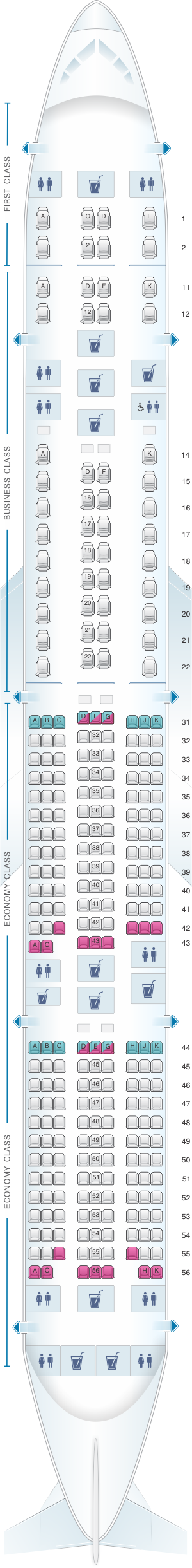 Seat map for Singapore Airlines Boeing B777 300ER three class