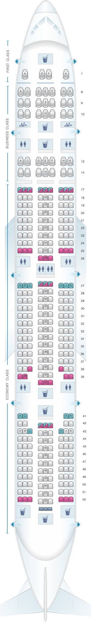 Seat map for Air India Boeing B777 300ER