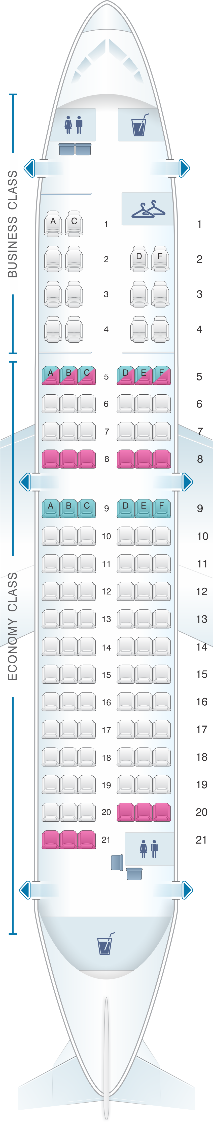 Seat map for TAROM Airbus A318 111 113pax