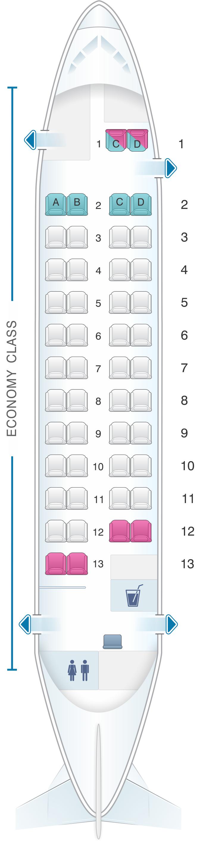 Seat map for TAROM ATR 42 500 48pax