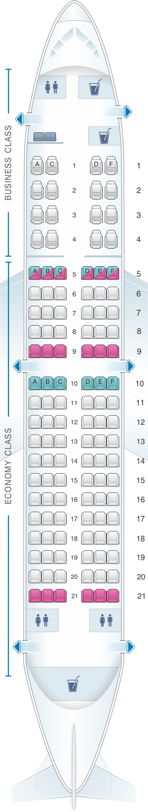 Seat map for TAROM Boeing B737 300 118pax