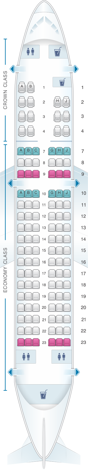 Seat map for Royal Jordanian Airbus A319 132