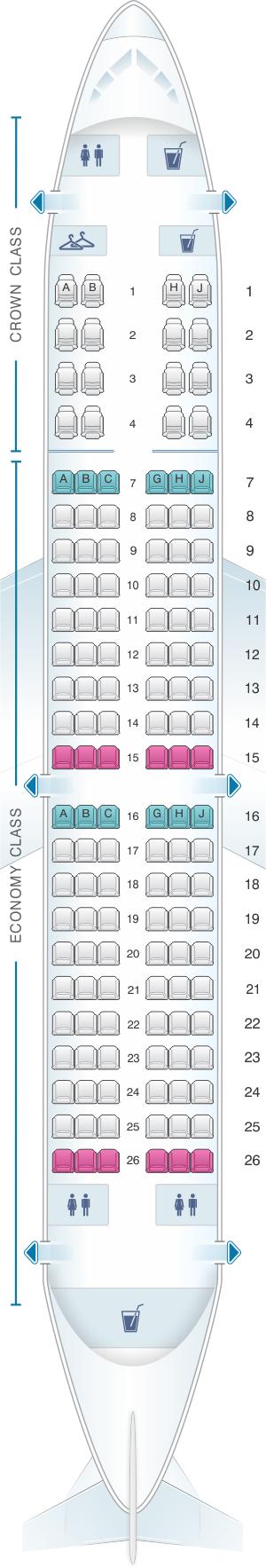 Seat map for Royal Jordanian Airbus A320 200