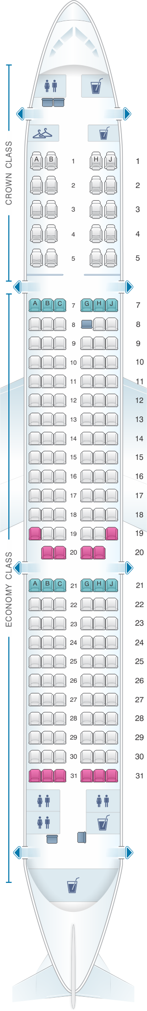 Seat map for Royal Jordanian Airbus A321 200