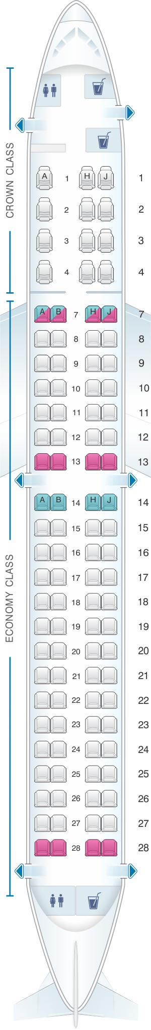 Seat map for Royal Jordanian Embarer EMB 195