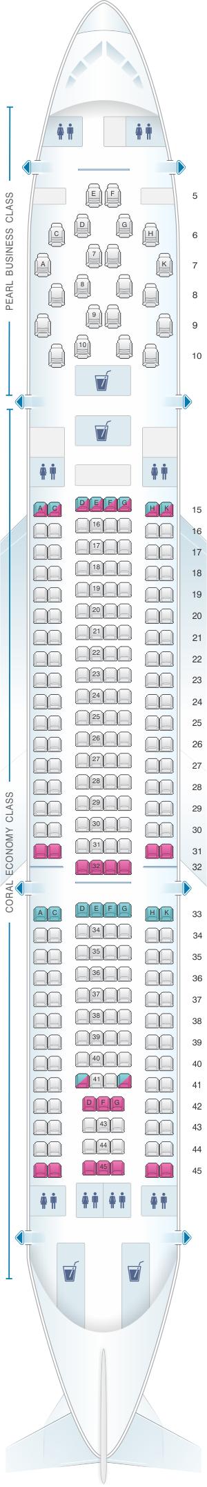 Seat map for Etihad Airways Airbus A330 200