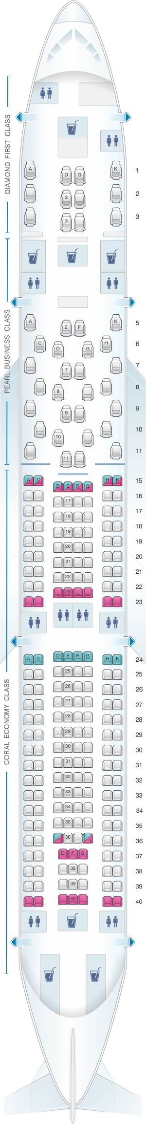 Seat map for Etihad Airways Airbus A340 500