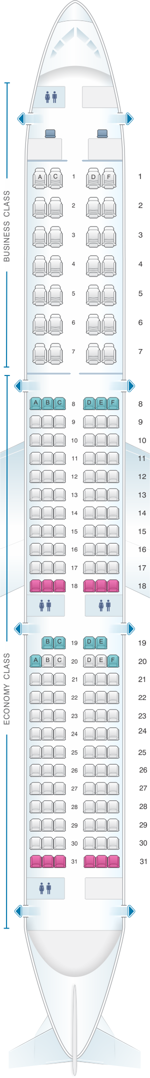 Seat Map Aeroflot Russian Airlines Airbus A321 Config.1 ...