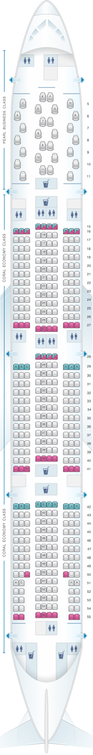 Seat map for Etihad Airways Boeing B777 300ER 2 class V1