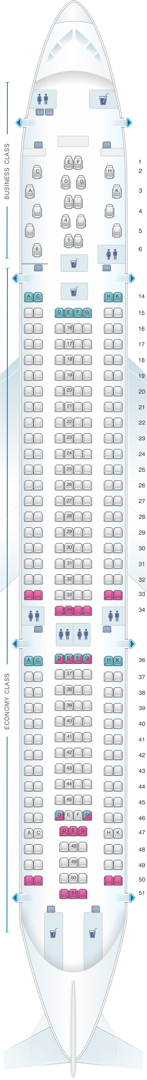 Seat map for airberlin Airbus A330 200 Config.1