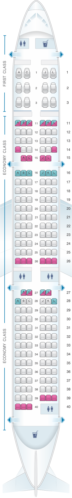 Seat map for Air China Airbus A321 200 Config. 1