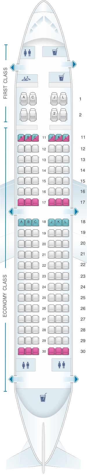 Seat map for Air China Boeing B737 300