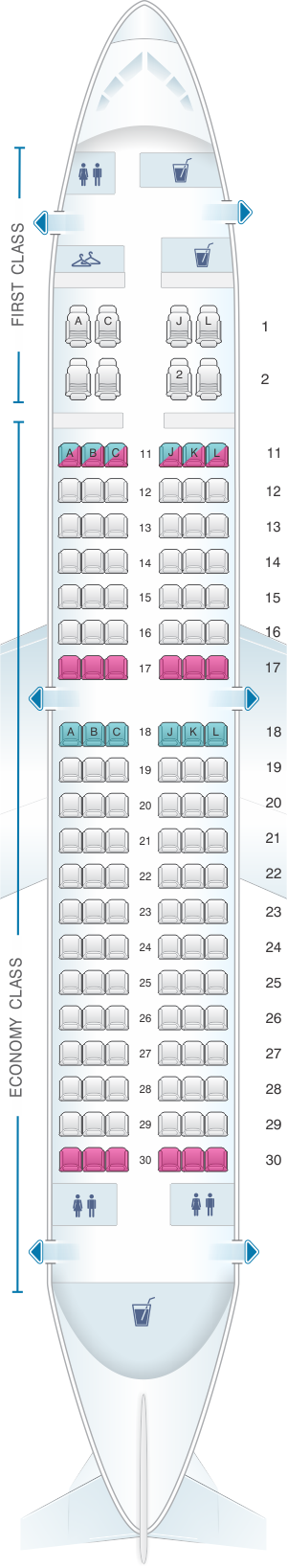 Seat map for Air China Boeing B737 700