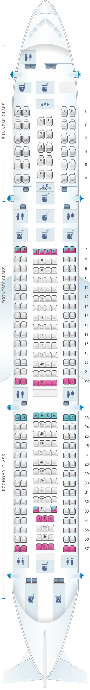Seat map for Turkish Airlines Airbus A340 300