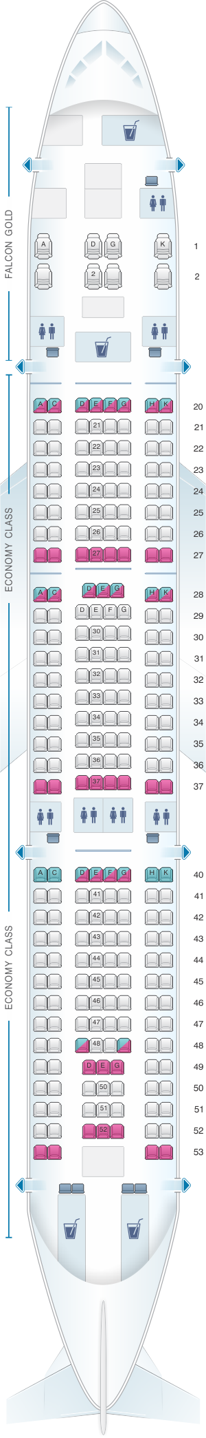 Seat map for Gulf Air Airbus A330 200 A