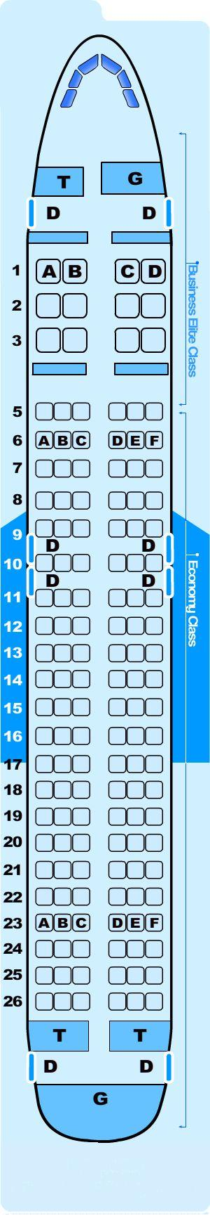 Seat Map Northwest Airlines Airbus A320 200 International