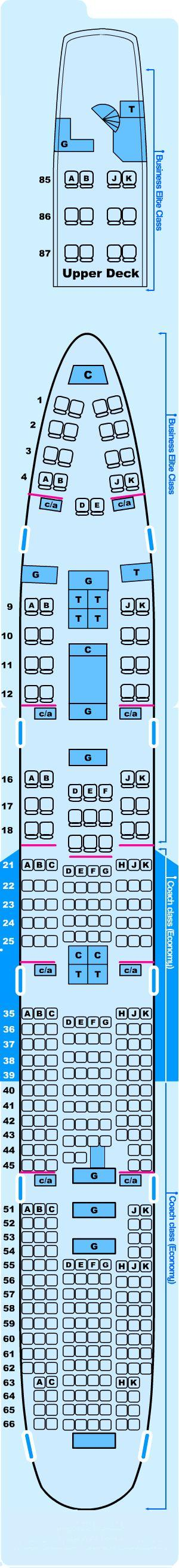 Seat map for Northwest Airlines Boeing B747 200 Z
