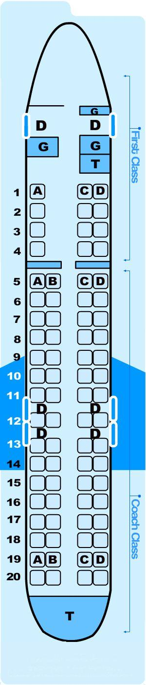 Seat map for Northwest Airlines Jet Airlink Bombardier CR9/CM9 (CRJ900)