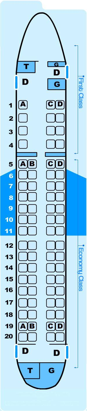 Seat map for Northwest Airlines Embraer E75/EC5