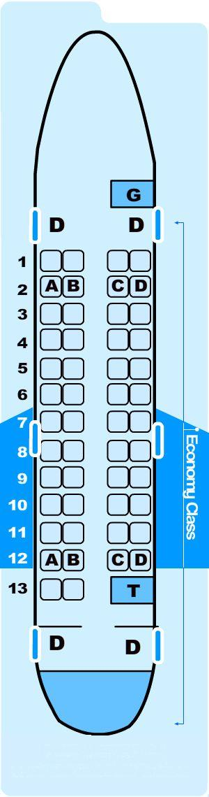 Seat map for Northwest Airlines Jet Airlink Canadair Regional Jet CRJ-CPJ