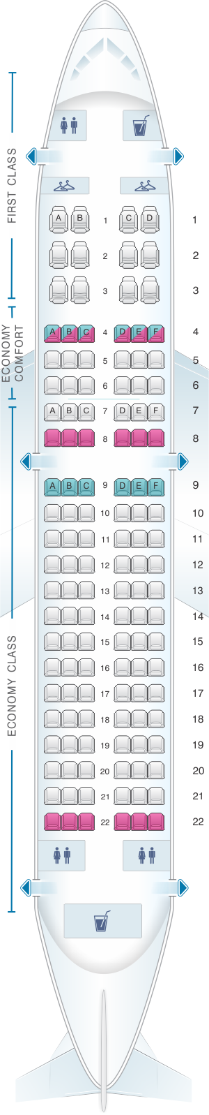 Seat Map For Delta Airlines Airbus A319 100