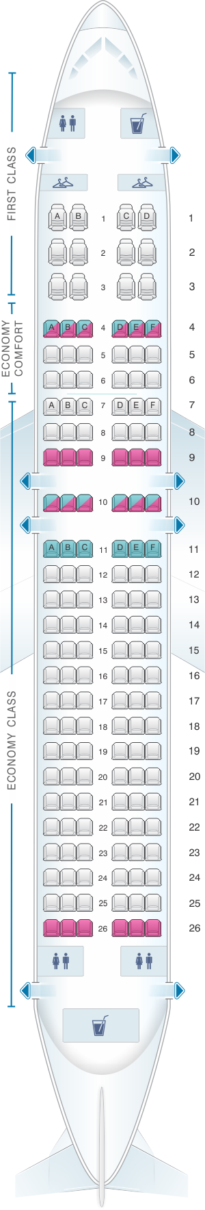 Seat map for Delta Airlines Airbus A320 200 (320/32R)