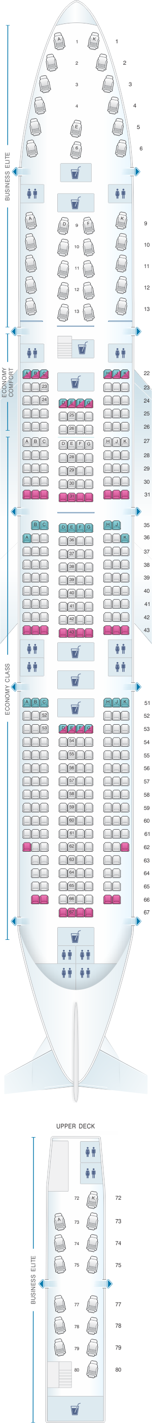 Seat map for Delta Air Lines Boeing B747 400