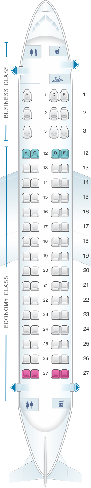 Seat map for Air Canada Embraer EMB 175