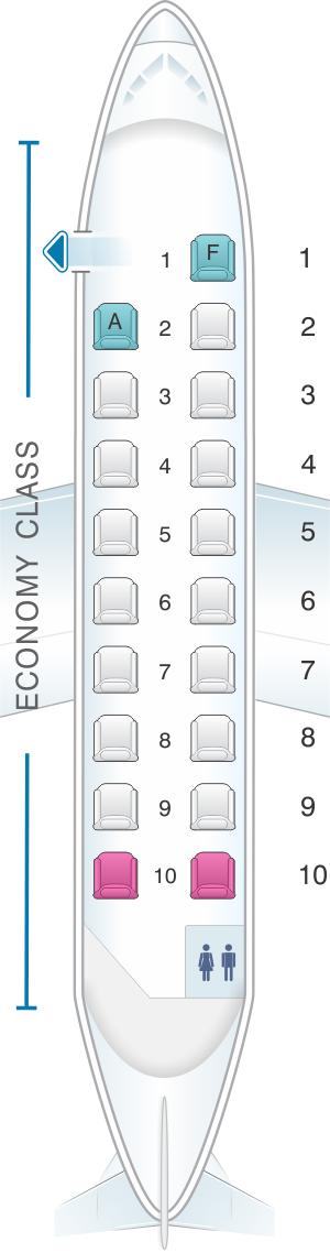 Seat map for Air New Zealand Hawker Beechcraft 1900 D