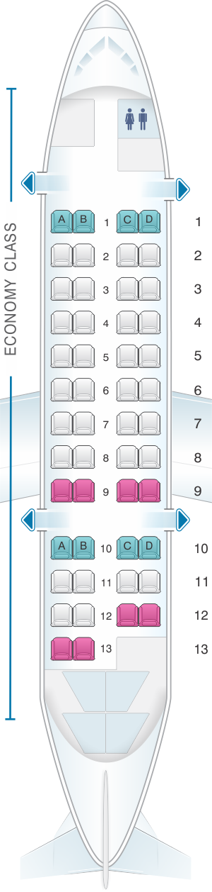 Seat map for Air New Zealand Bombardier Q300