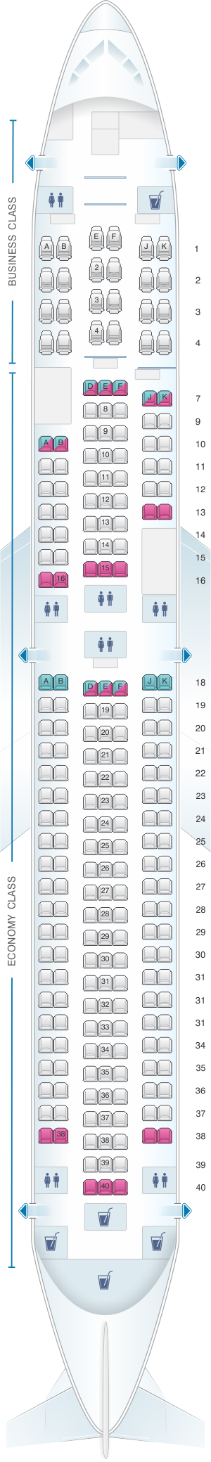 Seat map for Air New Zealand Boeing B767 300ER