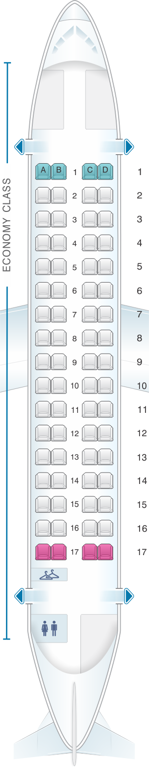 Seat map for Air New Zealand ATR 72 500
