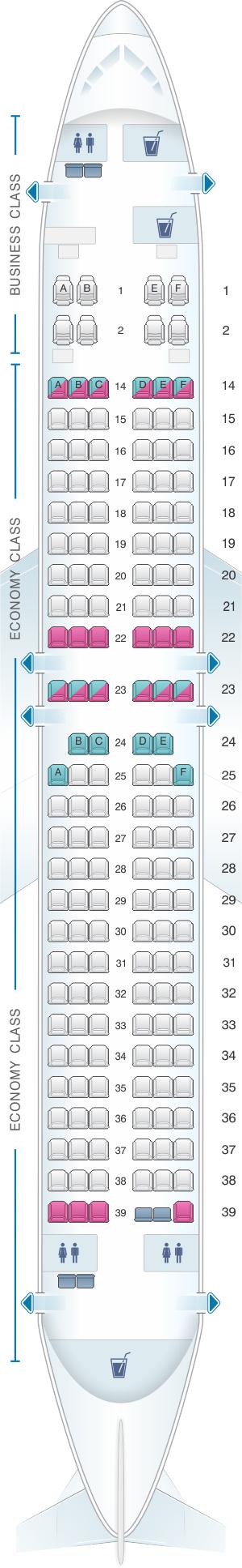 Seat Map Fiji Airways Boeing B737 800 164pax
